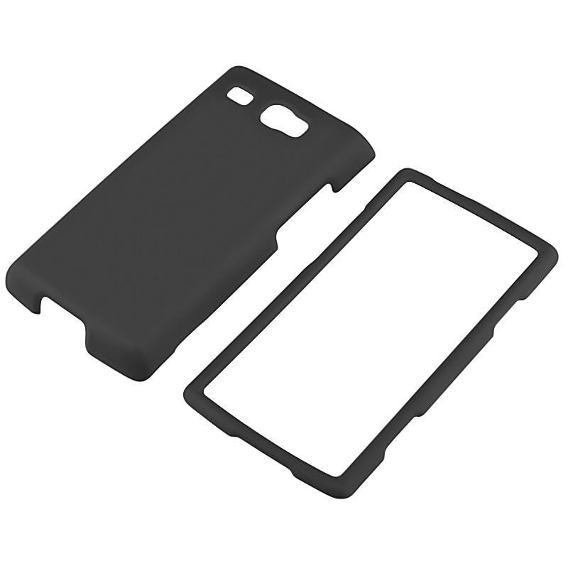 Black Snap-on Rubber Coated Case for Samsung Focus Flash i677