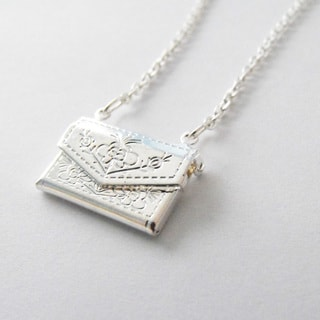 Silver Envelope Locket Necklace