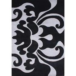 Alliyah Handmade Black New Zealand Blend Wool Rug (5 x 8)