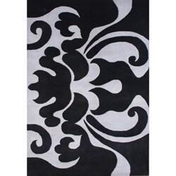 Alliyah Handmade Black New Zealand Blend Wool Rug (8 x 10)