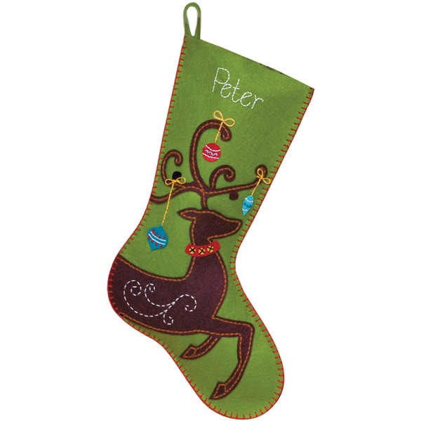 "Ornate Deer Stocking Felt Applique Kit-19"" Long"