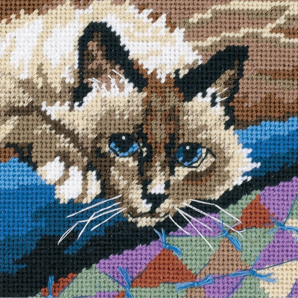 "Cuddly Cat Mini Needlepoint Kit-5""X5"" Stitched In Floss"