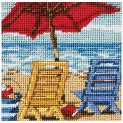 "Beach Chair Duo Mini Needlepoint Kit-5""X5"" Stitched In Thread"
