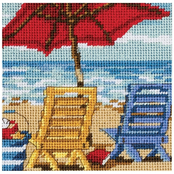 """Beach Chair Duo Mini Needlepoint Kit-5""""X5"""" Stitched In Thread"""