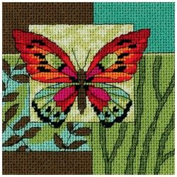 "Butterfly Impression Mini Needlepoint Kit-5""X5"" Stitched In Thread"