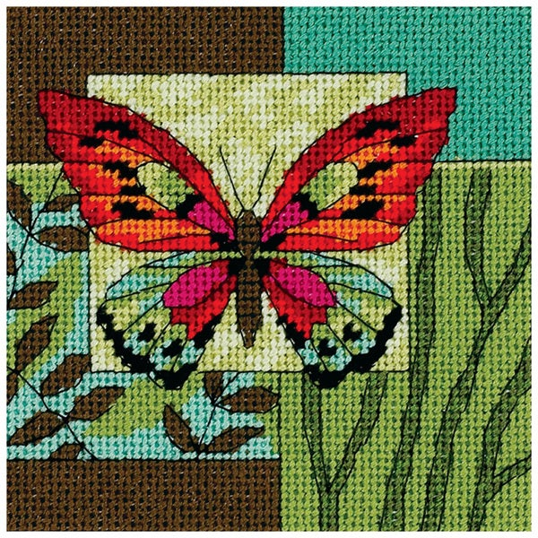"Butterfly Impression Mini Needlepoint Kit-5""X5"" Stitched In Thread 9186035"