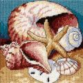 "Shell Collage Mini Needlepoint Kit-5""X5"" Stitched In Floss"