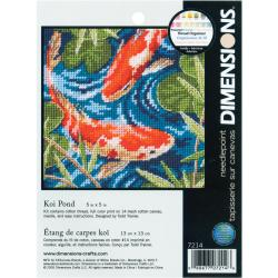 "Koi Pond Mini Needlepoint Kit-5""X5"" Stitched In Thread"