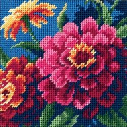 "Zinnias Mini Needlepoint Kit-5""X5"" Stitched In Thread"