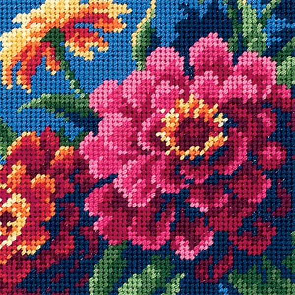 "Zinnias Mini Needlepoint Kit-5""X5"" Stitched In Thread 9186042"