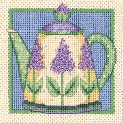 "Lilac Teapot Mini Needlepoint Kit-5""X5"" Stitched In Thread"
