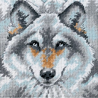 "Call Of The Wolf Mini Needlepoint Kit-5""X5"" Stitched In Thread"