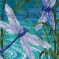 "Dragonfly Pair Mini Needlepoint Kit-5""X5"" Stitched In Thread & Ribbon"
