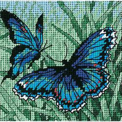 "Butterfly Duo Mini Needlepoint Kit-5""X5"" Stitched In Thread"