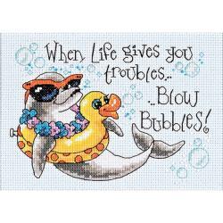 "Blow Bubbles Mini Counted Cross Stitch Kit-7""X5"""