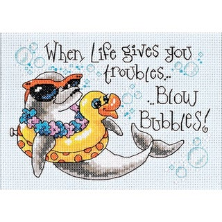 "Blow Bubbles Mini Counted Cross Stitch Kit-7""X5"""