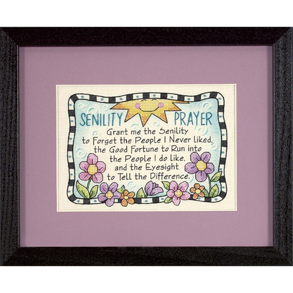 "Senility Prayer Mini Stamped Cross Stitch Kit-7""X5"" 9186077"