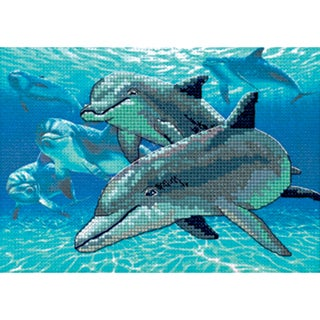 "Deep Sea Dolphins Mini No Count Cross Stitch Kit-7""X5"""