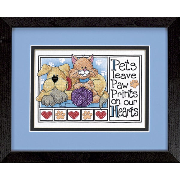 "Paw Prints Mini Stamped Cross Stitch Kit-7""X5"" 9186082"