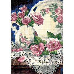 "Gold Collection Petite Lace And Roses Counted Cross Stitch K-5""X7"""