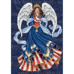 "Gold Collection Petite Patriotic Angel Counted Cross Stitch -5""X7"""