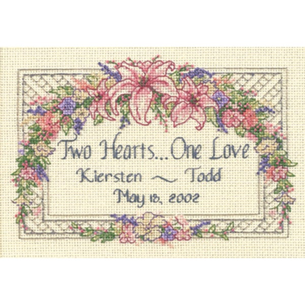 "One Love Wedding Record Mini Counted Cross Stitch Kit-7""X5"" 9186096"