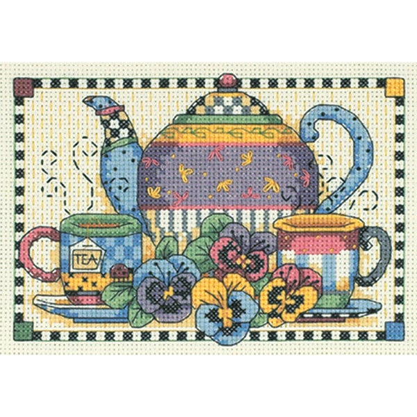 "Teatime Pansies Mini Counted Cross Stitch Kit-7""X5"" 9186100"
