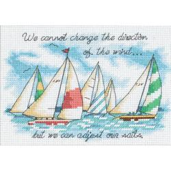 """Adjusting Our Sails Mini Counted Cross Stitch Kit-7""""X5"""""""
