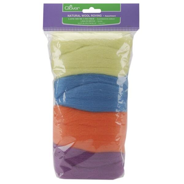Clover Natural Lime-Green/Teal/Orange/Violet Wool Roving .7-Ounces 4/Pkg