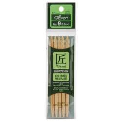 "Bamboo Double Point Knitting Needles 5"" 5/Pkg-Size 9"