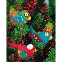 "Whimsical Birds Ornaments Felt Applique Kit-2-3/4""X4-3/4"" Set Of 3"