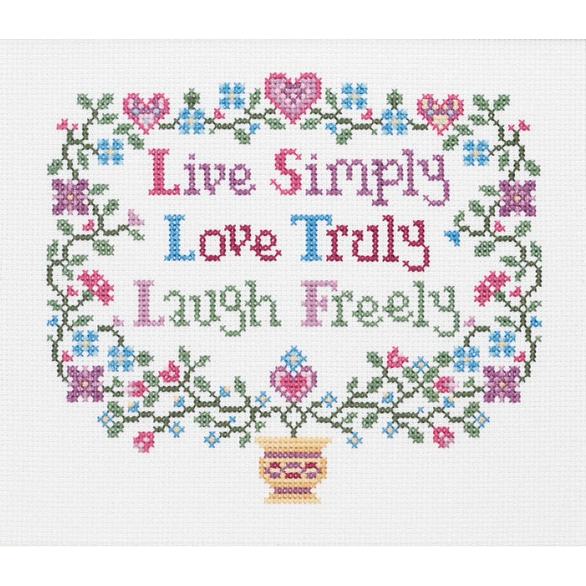 "Live, Love, Laugh Counted Cross Stitch Kit-8""X7"" 14 Count"