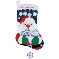 "Santa's Snowflake Collection Stocking Felt Applique Kit-18"" Long"