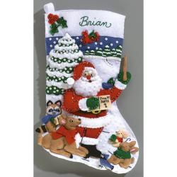 "Sing Along With Santa Stocking Felt Applique Kit-16-1/4"" Long"