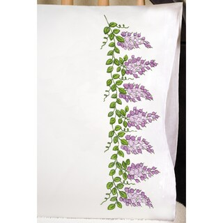 """Stamped Pillowcase Pair 20""""X30"""" For Embroidery-Wisteria"""
