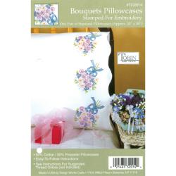 "Stamped Pillowcase Pair 20""X30"" For Embroidery-Bouquets"