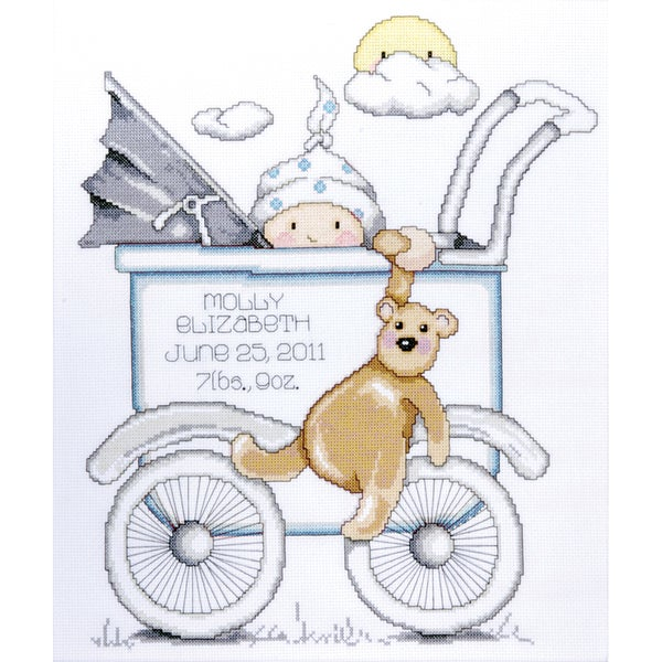 "Baby Buggy Boy Birth Record Counted Cross Stitch Kit-13""X15"" 14 Count"