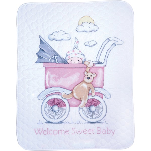 "Baby Buggy Girl Baby Quilt Stamped Cross Stitch Kit-36""X43"""
