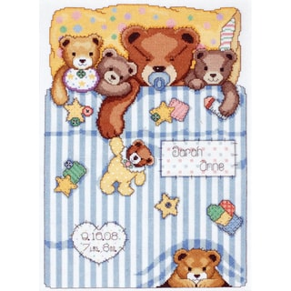 """Under The Covers Birth Record Counted Cross Stitch Kit-11""""X14"""" 14 Count"""