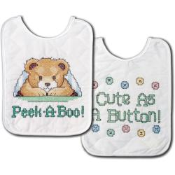 "Under The Covers Bib Pair Stamped Cross Stitch Kit-8""X10"" Set Of 2"