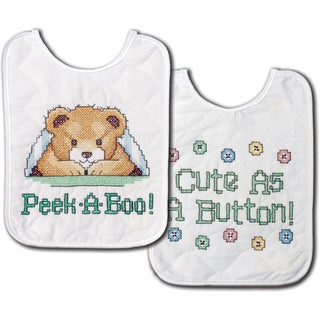"""Under The Covers Bib Pair Stamped Cross Stitch Kit-8""""X10"""" Set Of 2"""
