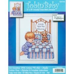 "Bedtime Prayer Boy Birth Record Counted Cross Stitch Kit-11""X14"" 14 Count"