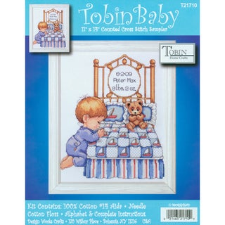 """Bedtime Prayer Boy Birth Record Counted Cross Stitch Kit-11""""X14"""" 14 Count"""