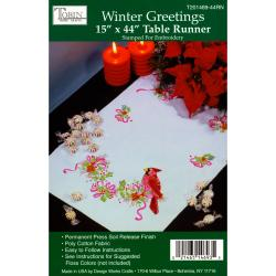 "Winter Greetings Stamped Table Runner For Embroidery-15""X44"""
