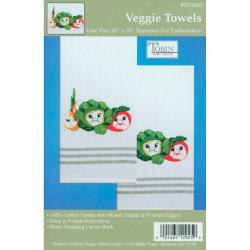 Stamped Kitchen Towels For Embroidery-Veggie