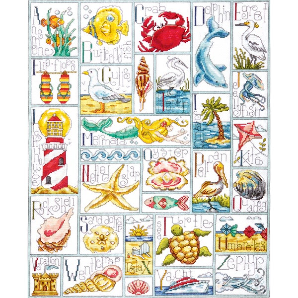 "Ocean ABC Counted Cross Stitch Kit-16""X20"" 14 Count 9186384"