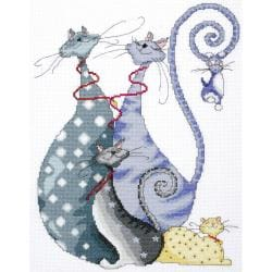 "Cat Pack Counted Cross Stitch Kit-10""X14"" 14 Count"