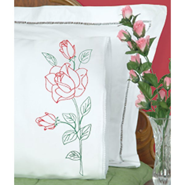 Stamped Pillowcases With White Lace Edge 2/Pkg-Long Stem Rose