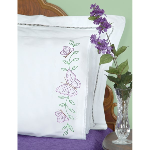 Stamped Pillowcases With White Lace Edge 2/Pkg-Butterflies