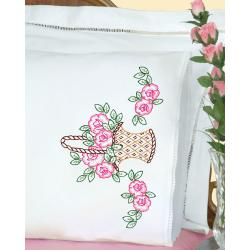 Stamped Pillowcases With White Lace Edge 2/Pkg-Basket Of Flowers